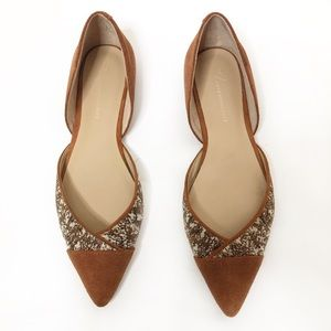 Anthropologie Tan Pointed Flats